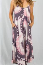 White Birch Sleeveless Tie Dye Jumpsuit - Front cropped