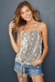 Hailey & Co Sleeveless Tie Front Snakeskin Top - Product Mini Image