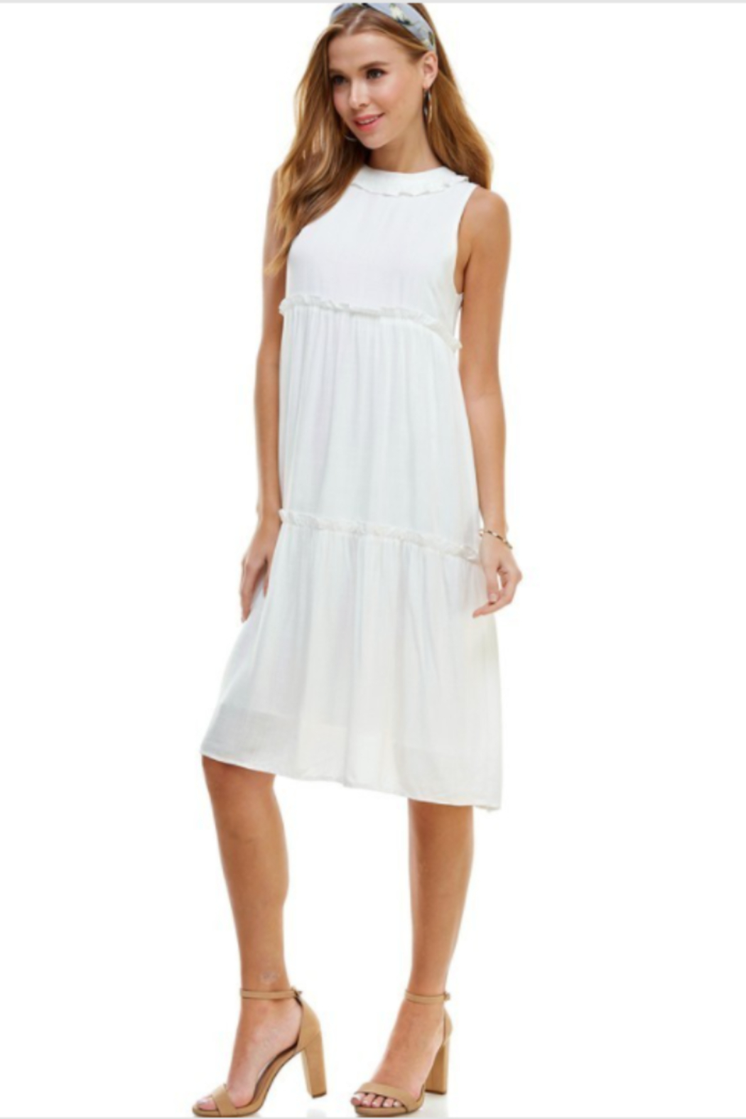 TCEC Sleeveless Tiered Dress - Front Full Image