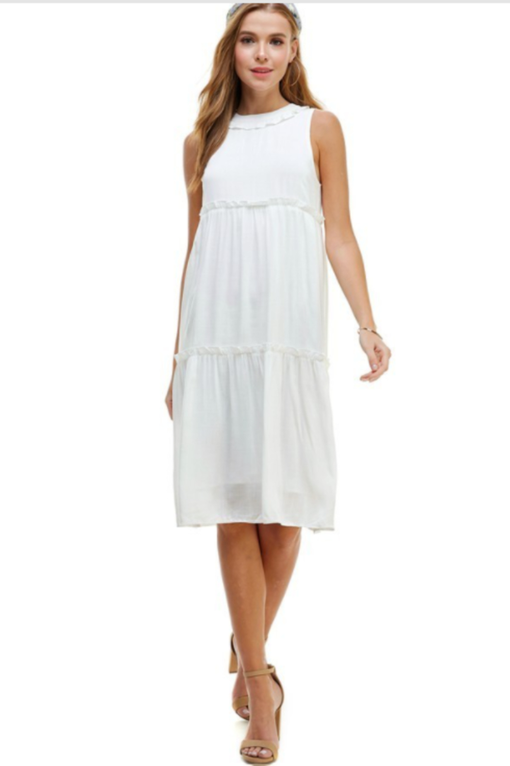 TCEC Sleeveless Tiered Dress - Side Cropped Image