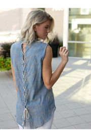 Sharon Young Sleeveless Top with Lace-Up Back - Product Mini Image