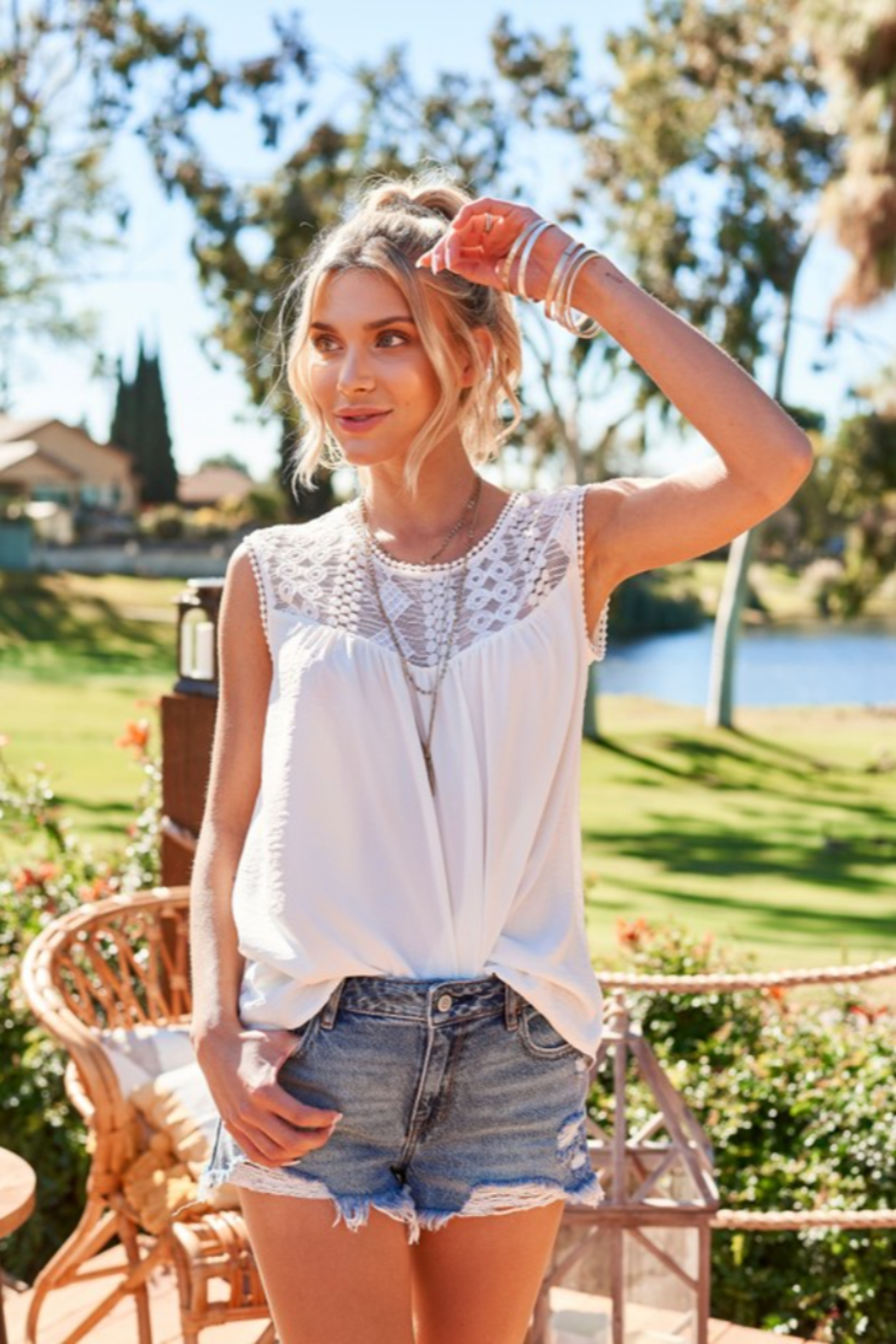 Hailey & Co Sleeveless Top with Lace Yolk - Front Full Image