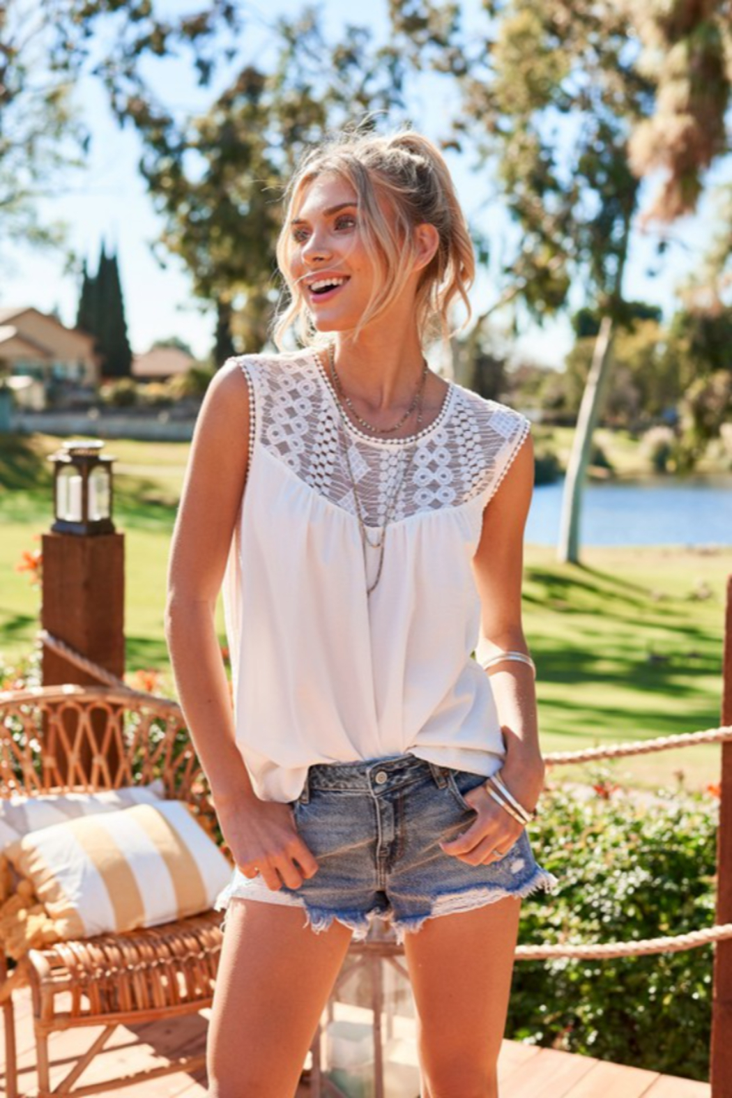 Hailey & Co Sleeveless Top with Lace Yolk - Main Image