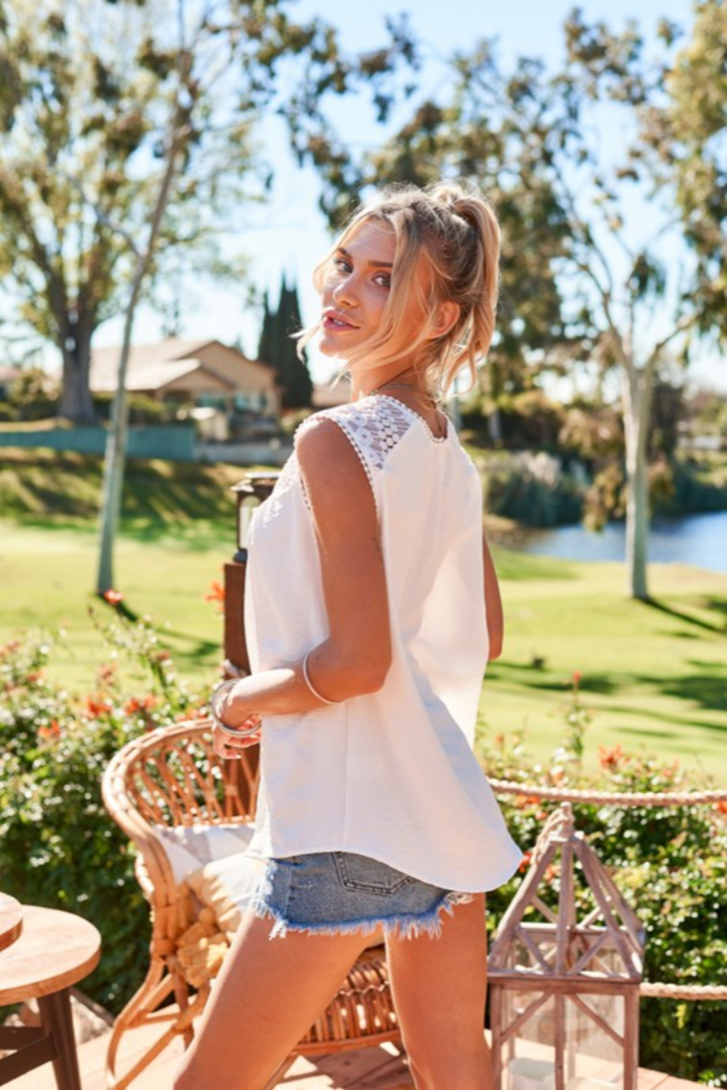 Hailey & Co Sleeveless Top with Lace Yolk - Side Cropped Image