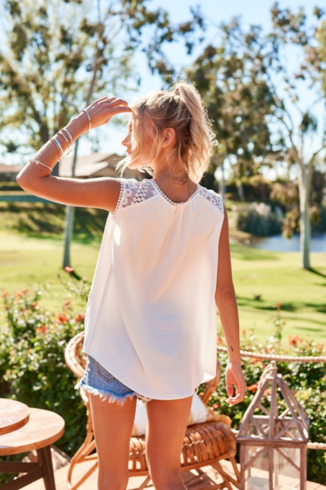 Hailey & Co Sleeveless Top with Lace Yolk - Back Cropped Image