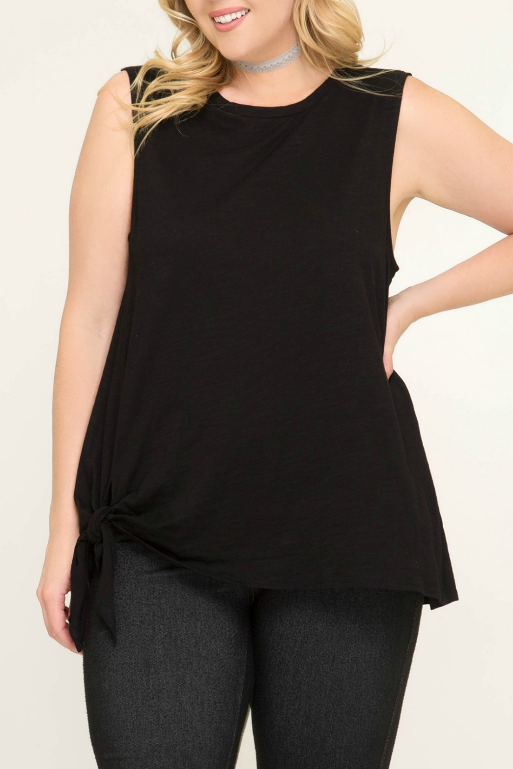 She + Sky Sleeveless Top with Side Tie Detail - Front Cropped Image