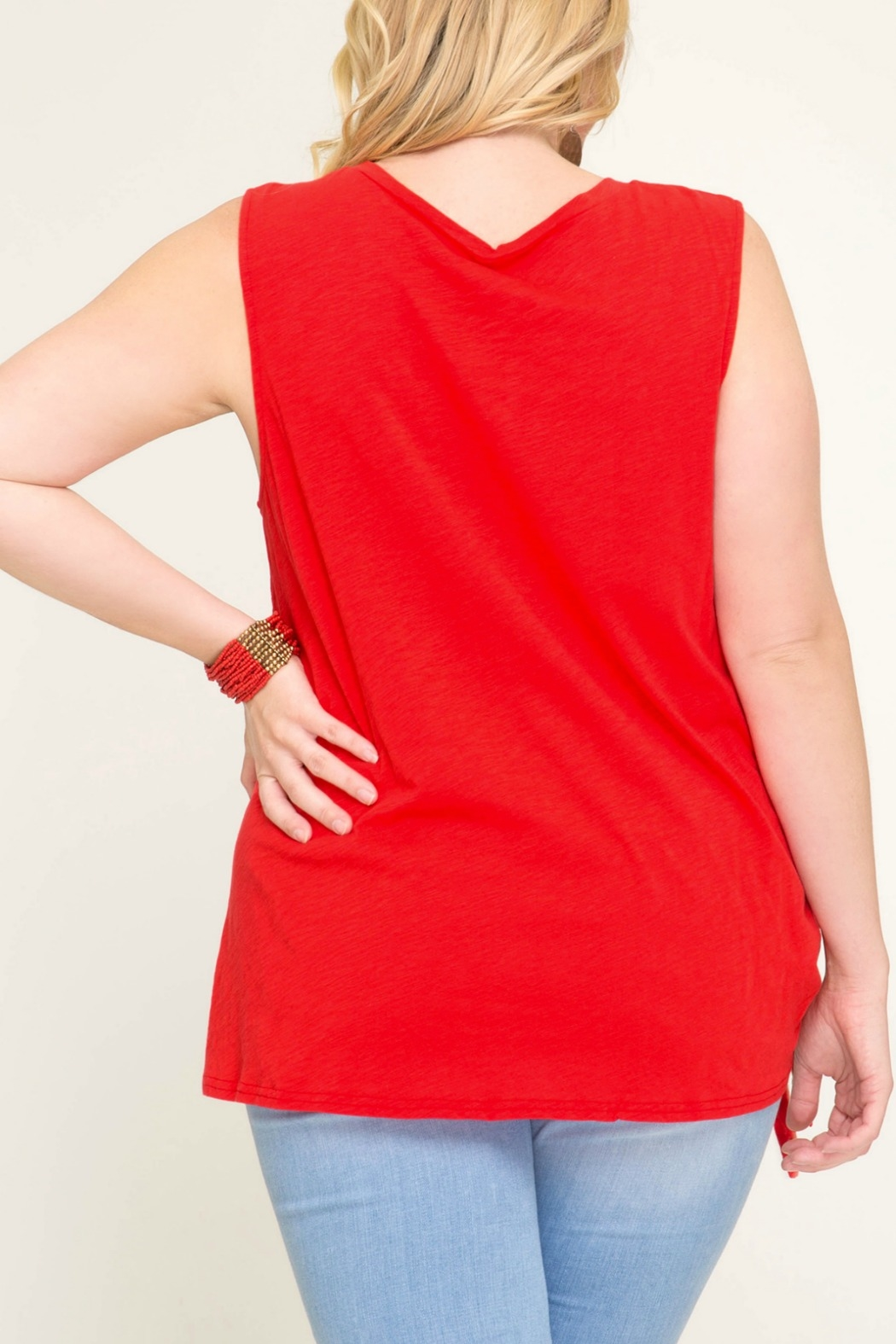 She + Sky Sleeveless Top with Side Tie Detail - Back Cropped Image