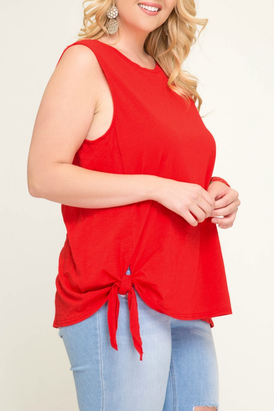 She + Sky Sleeveless Top with Side Tie Detail - Front Full Image