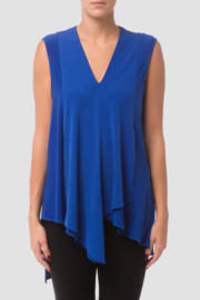 Joseph Ribkoff  Sleeveless Tunic, loose fit with a v-neck and wrap-style handkerchief hemline. - Front cropped
