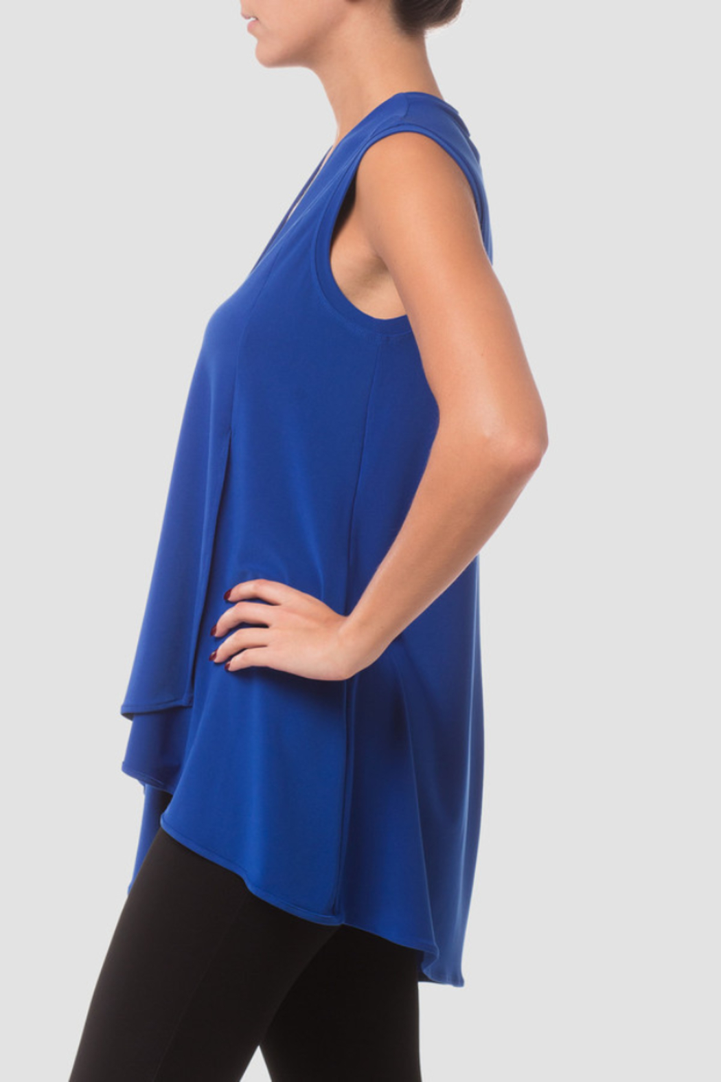 Joseph Ribkoff  Sleeveless Tunic, loose fit with a v-neck and wrap-style handkerchief hemline. - Side Cropped Image