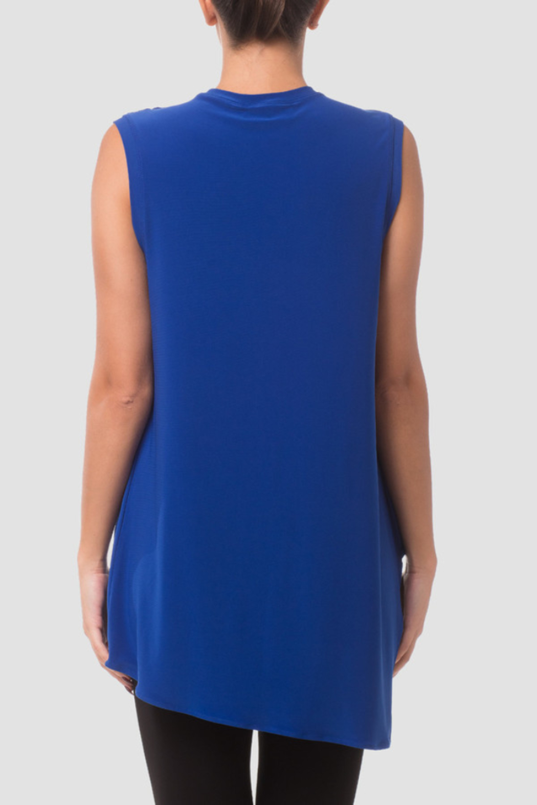 Joseph Ribkoff  Sleeveless Tunic, loose fit with a v-neck and wrap-style handkerchief hemline. - Front Full Image