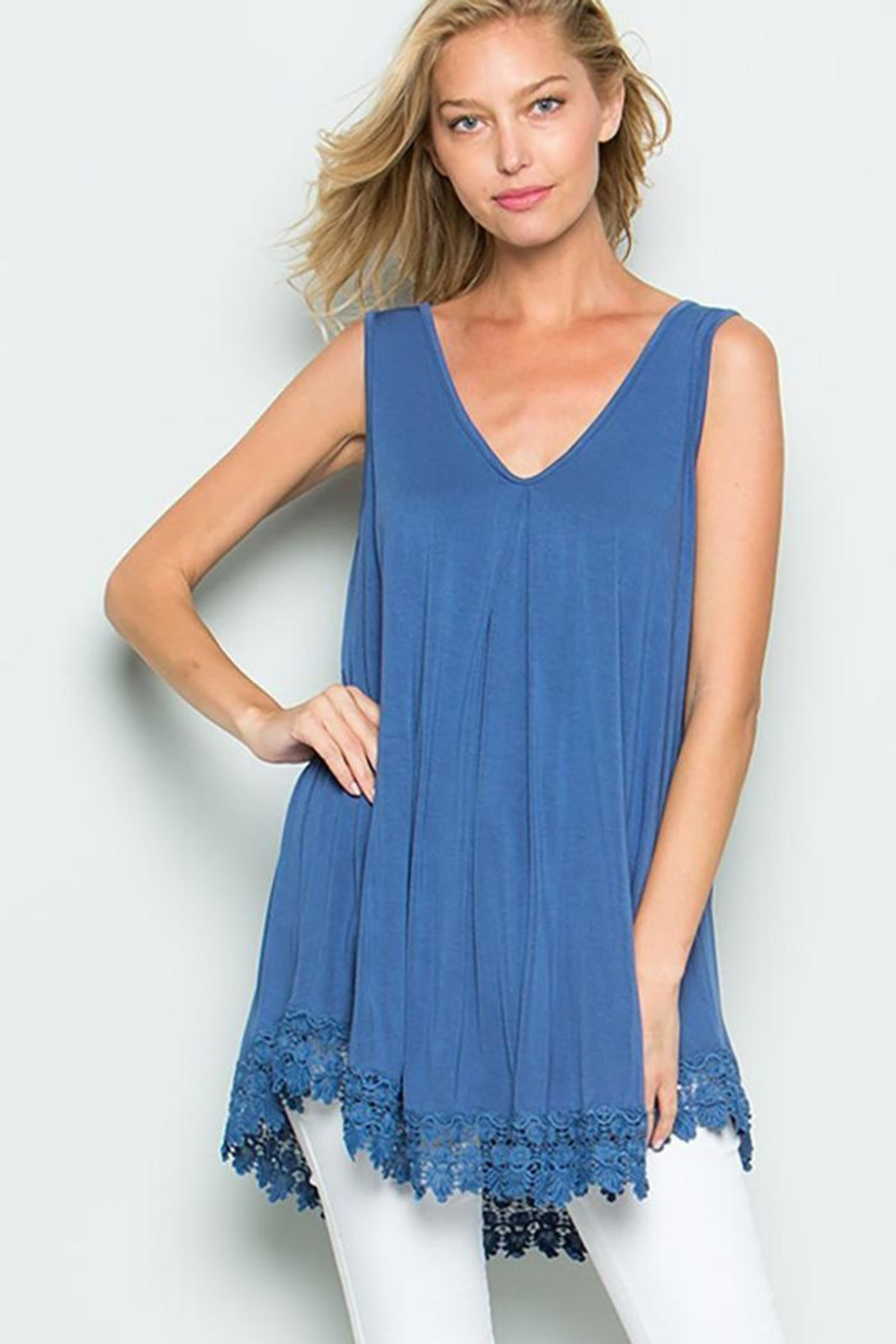 American Chic Sleeveless Tunic Top - Front Cropped Image
