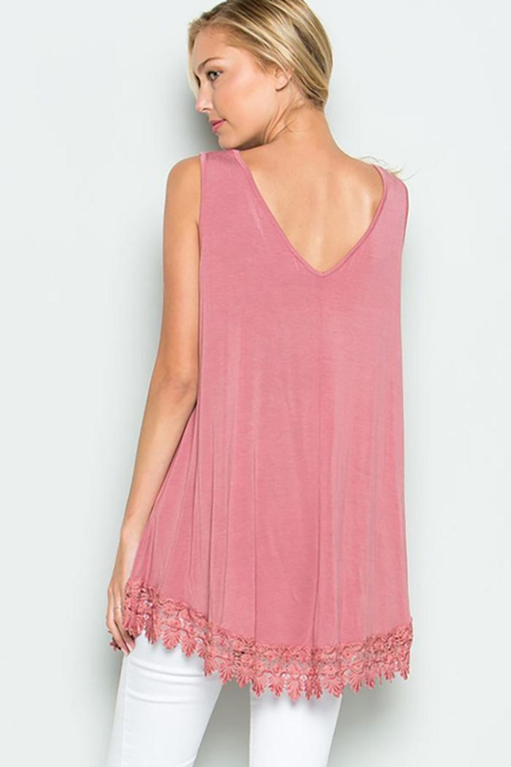 American Chic Sleeveless Tunic Top - Front Full Image