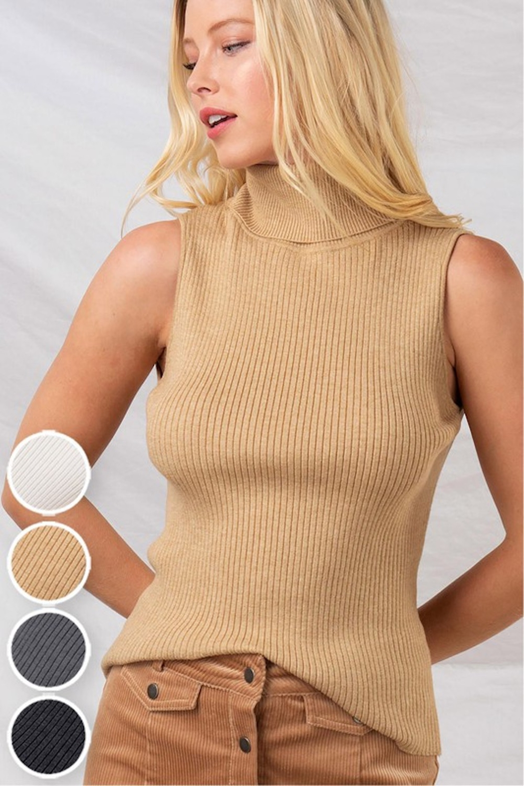 Trend Notes  Sleeveless Turtleneck - Front Cropped Image