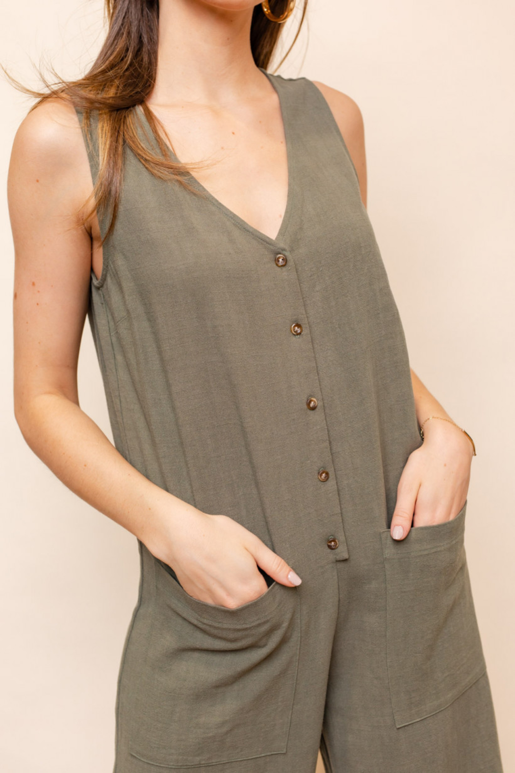 Gilli  Sleeveless V-Neck Button Down Jumpsuit - Back Cropped Image