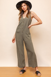 Gilli  Sleeveless V-Neck Button Down Jumpsuit - Product Mini Image