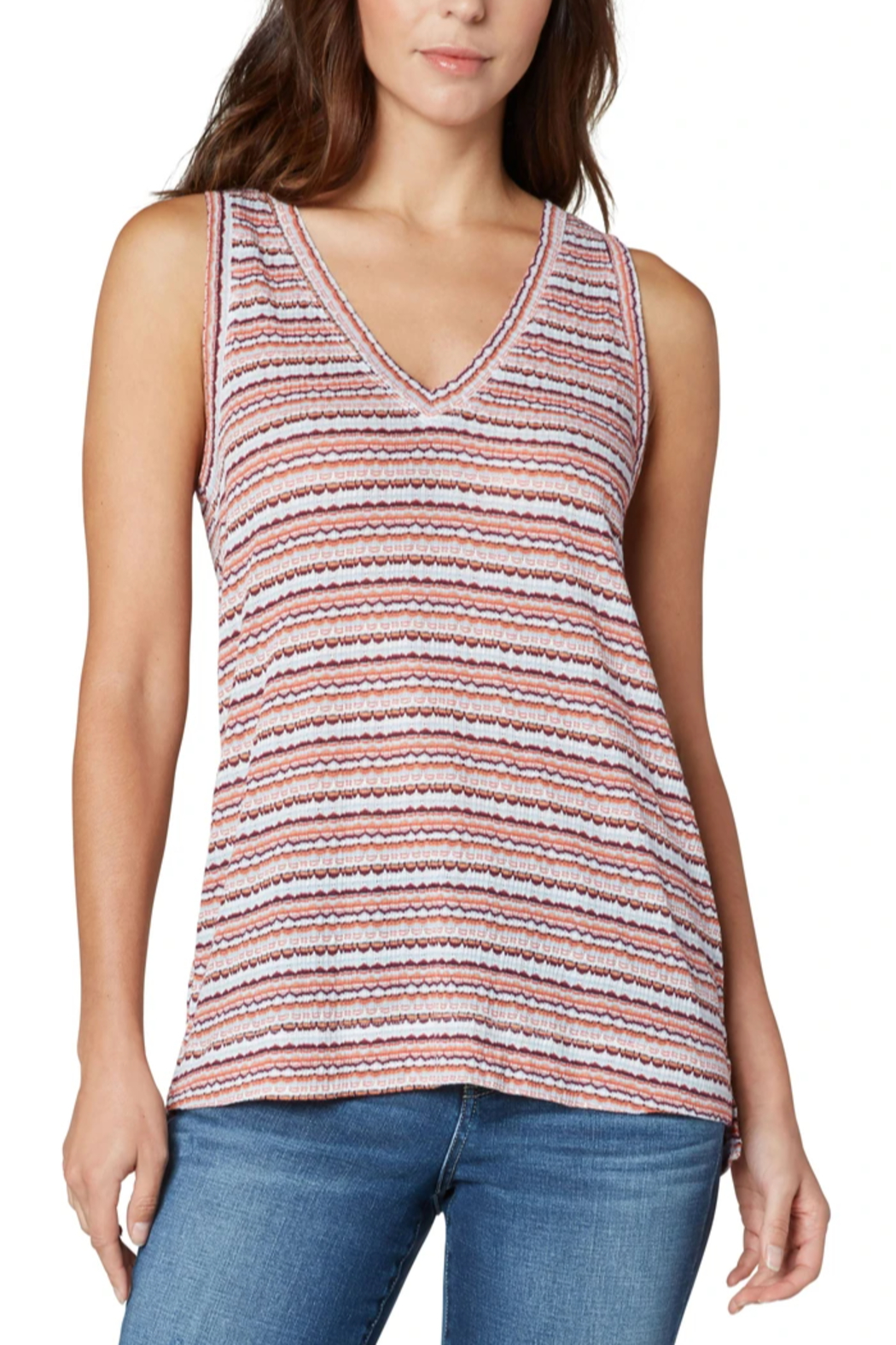 Liverpool  Sleeveless V-Neck Knit Tee - Front Cropped Image