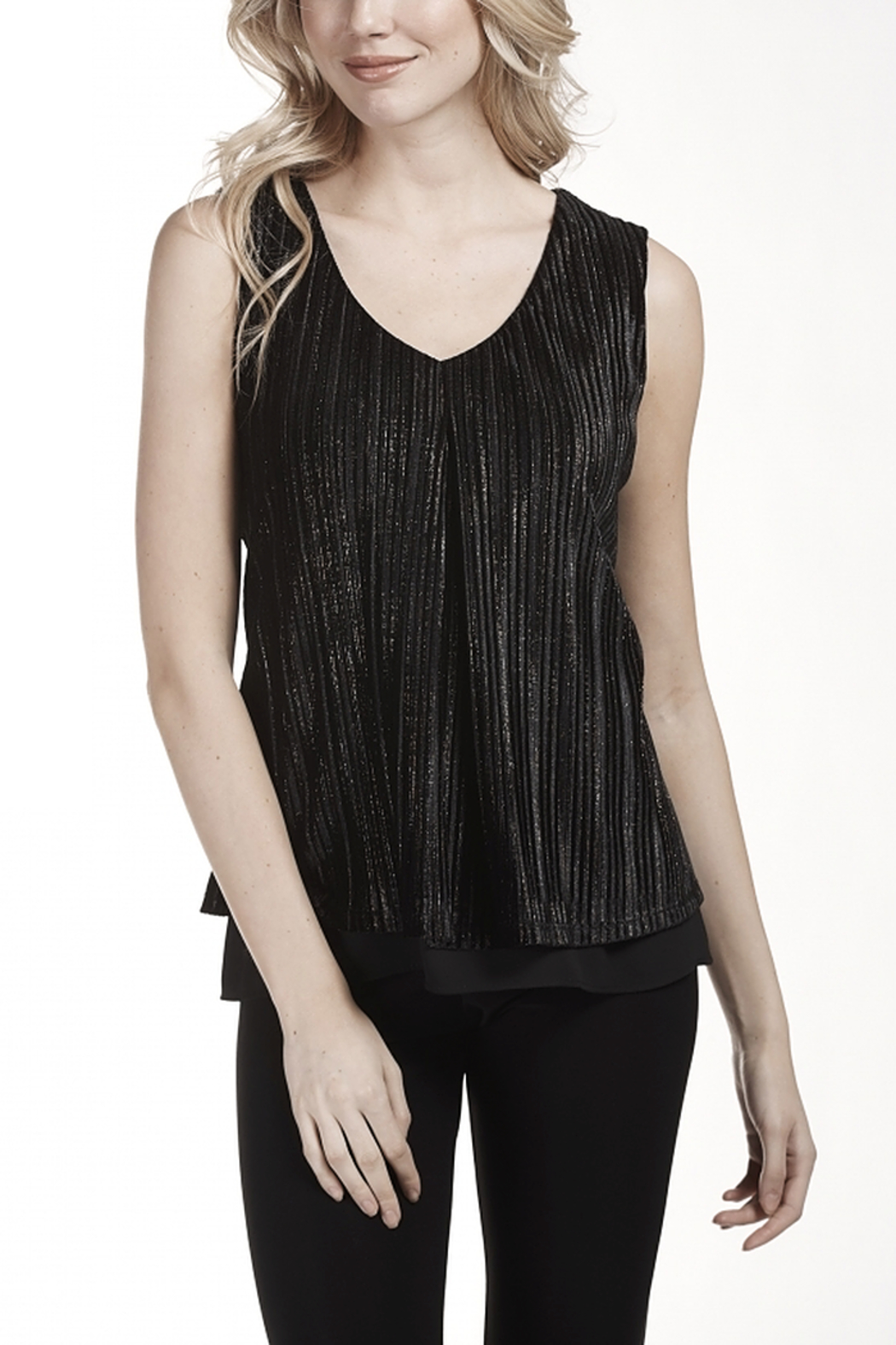 Frank Lyman Sleeveless V-neck Ribbed Top - Front Cropped Image