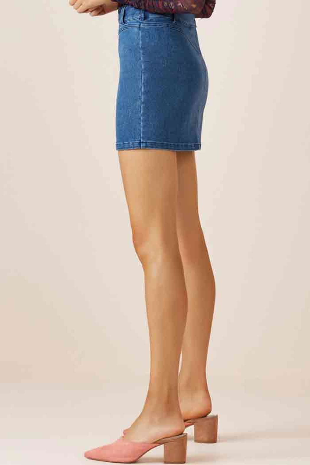 Slide Denim Skirt - Side Cropped Image