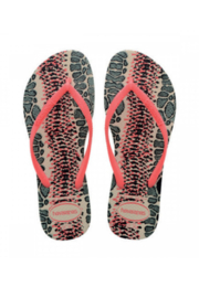 Havaianas Slim Animal Beige/Coral - Front cropped