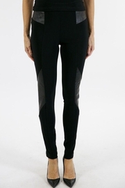 Joseph Ribkoff  Slim black pant with leather on hips and legs - Product Mini Image