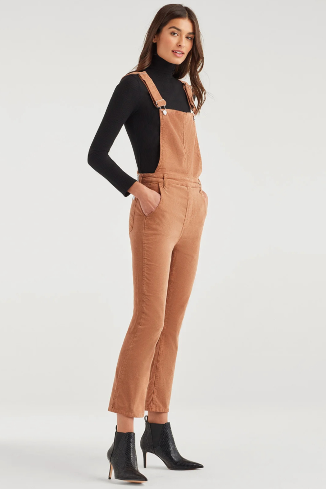 7 For all Mankind Slim Kick Overall - Front Full Image