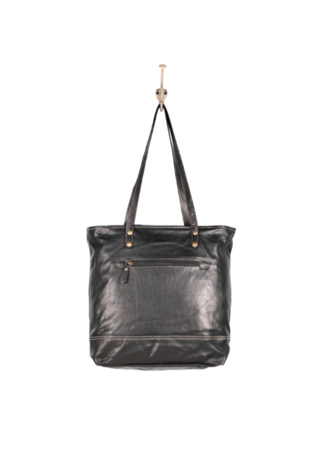 Myra Bags Slim Leather Tote Bag - Front Full Image