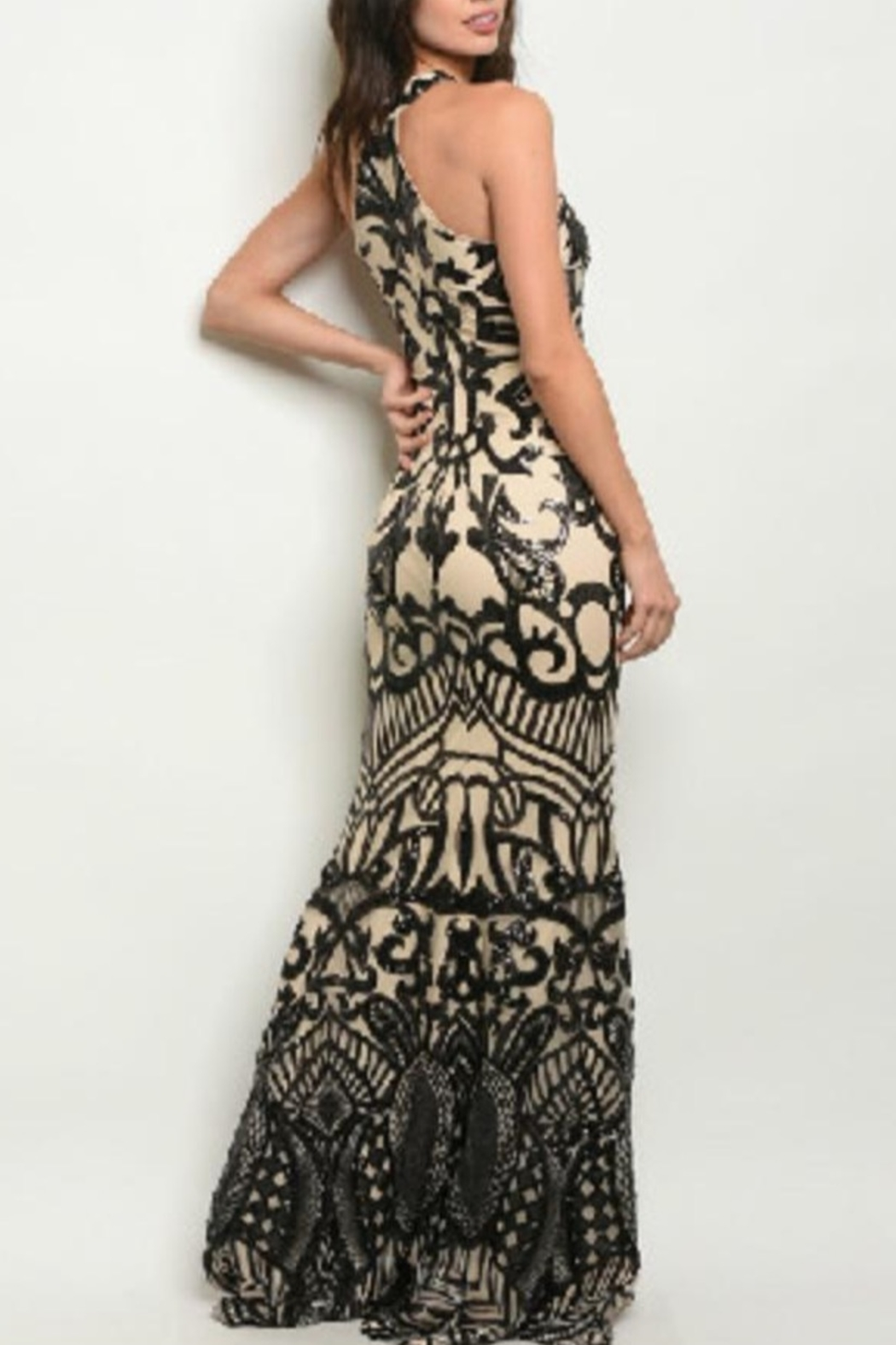 Ricarica Slimming Sequin Gown - Front Full Image