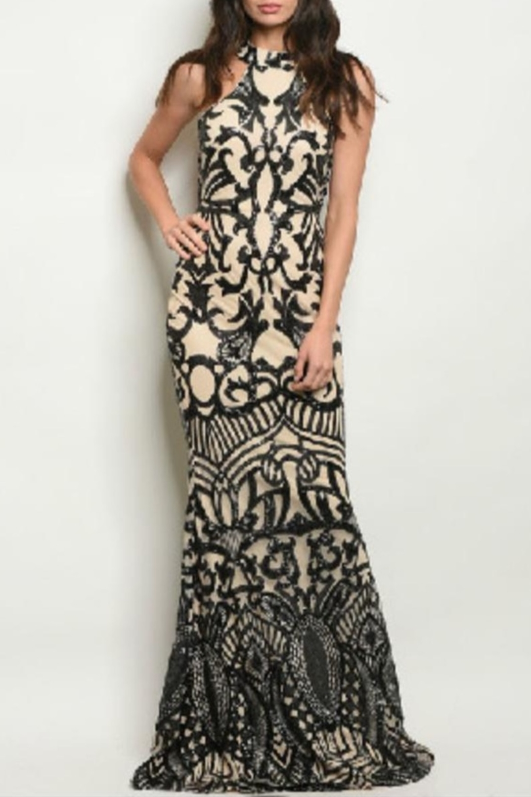 Ricarica Slimming Sequin Gown - Front Cropped Image