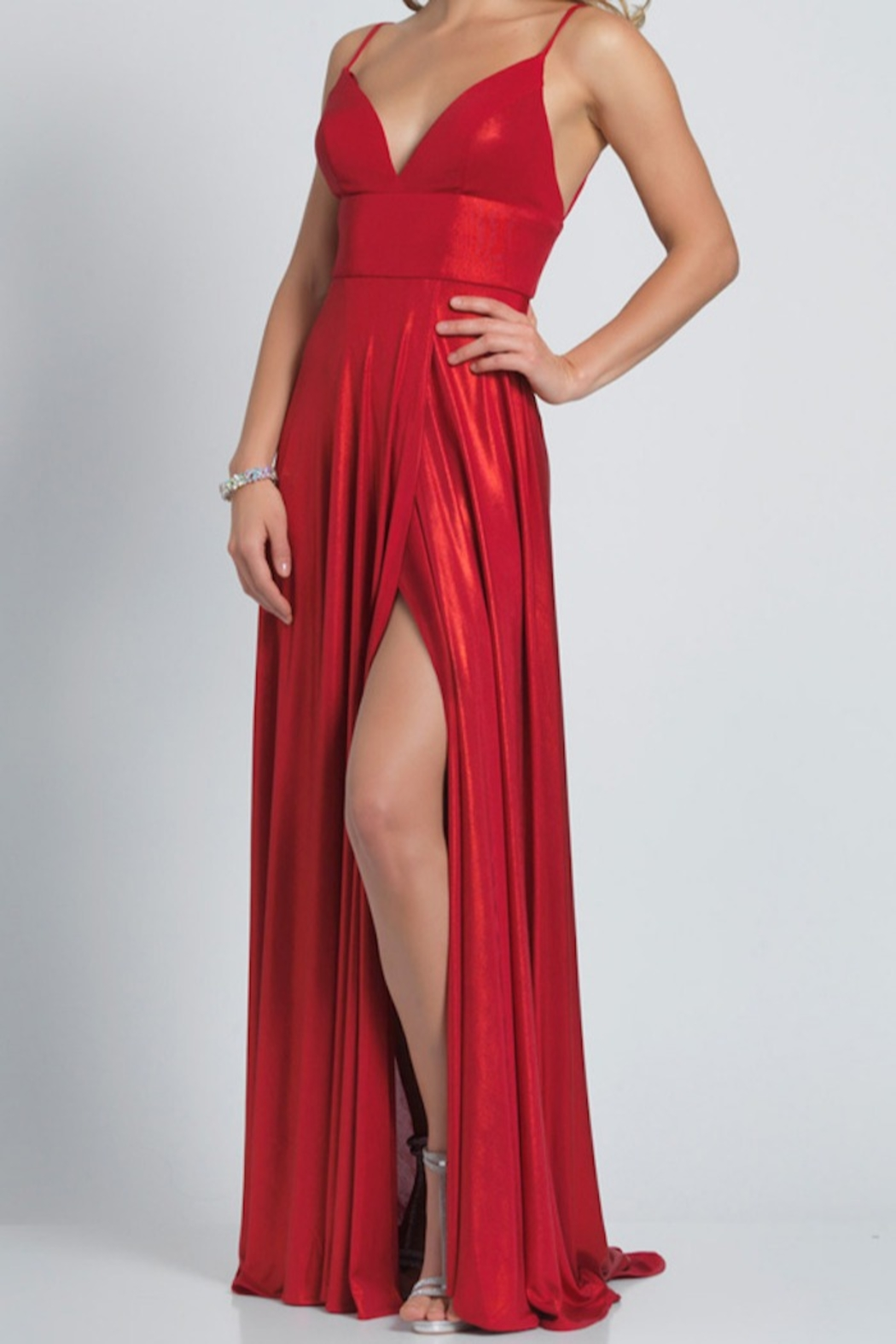Dave and Johnny Slip Gown W/ Slit - Front Cropped Image