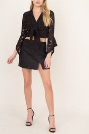 Olivaceous Slit Leather Mini Skirt - Front cropped