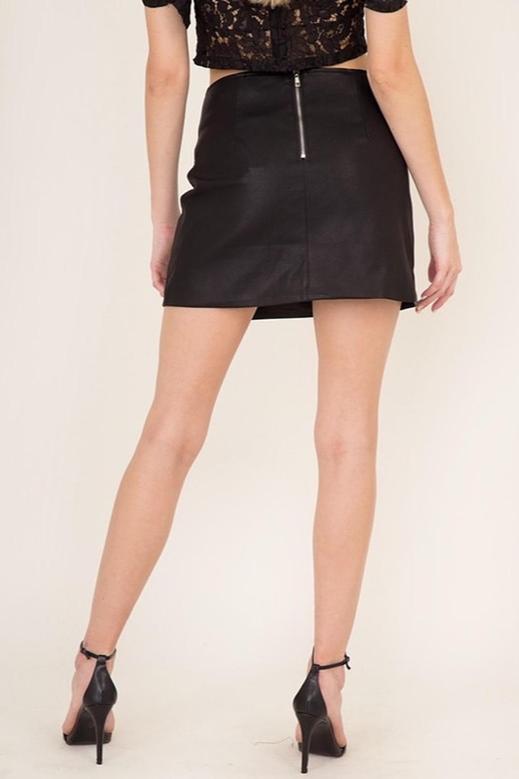 Olivaceous  Slit Leather Mini Skirt - Side Cropped Image