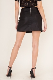 Olivaceous  Slit Leather Mini Skirt - Side cropped