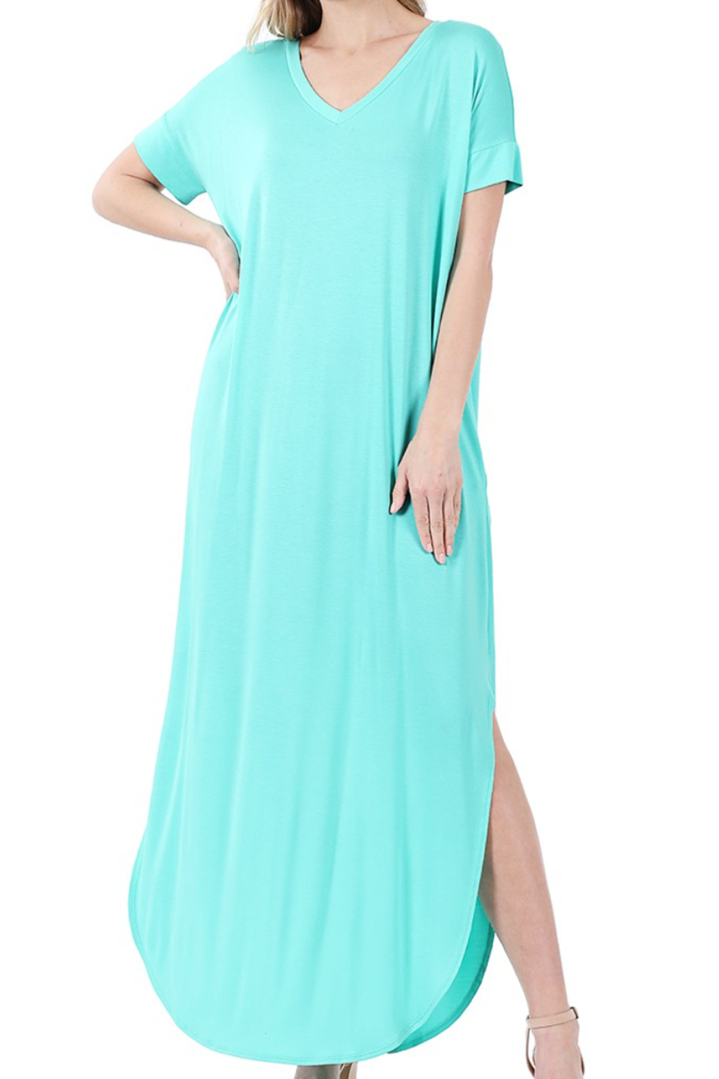 Zenana Slit V-Neck Maxi - Main Image