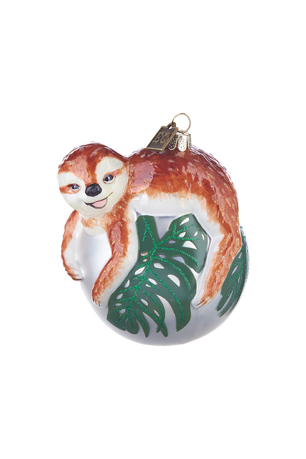 RAZ Imports Sloth On Monstera Leaf Ornament - Main Image
