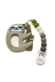 loulou LOLLIPOP Sloth Silicone Teether with Holder Set - Product Mini Image