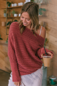 Lovestitch  Slouchy Fuzzy Ribbed Sweater - Product List Image