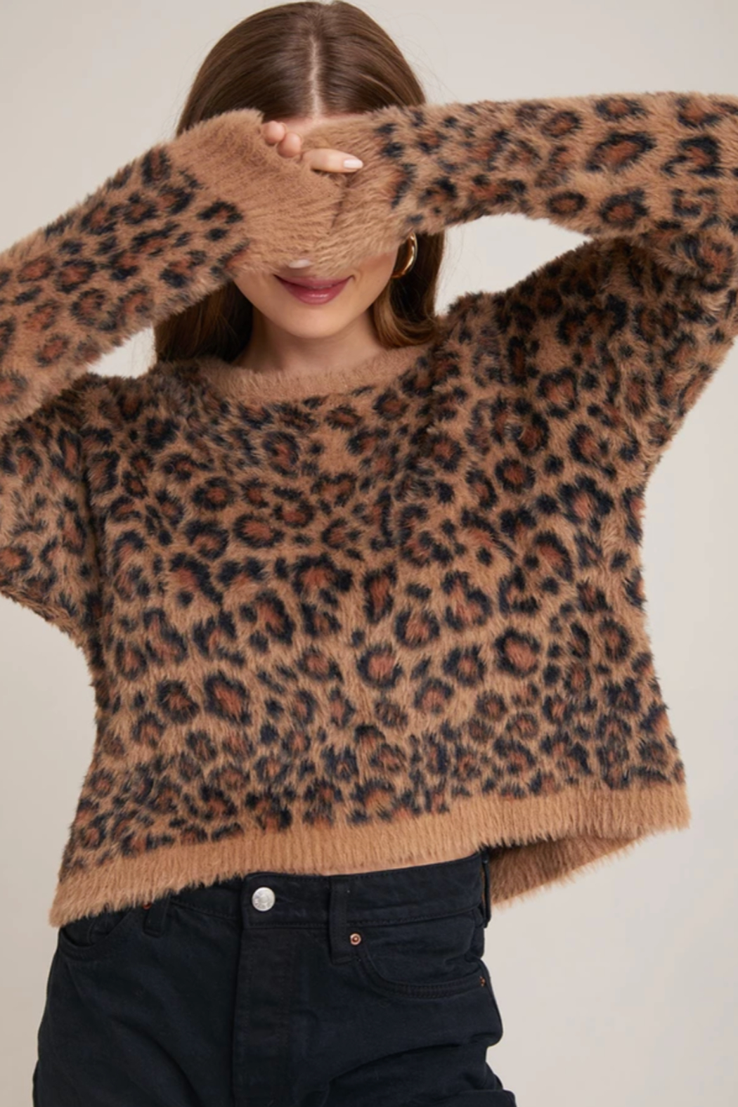 Bella Dahl  Slouchy Leopard Sweater - Front Full Image