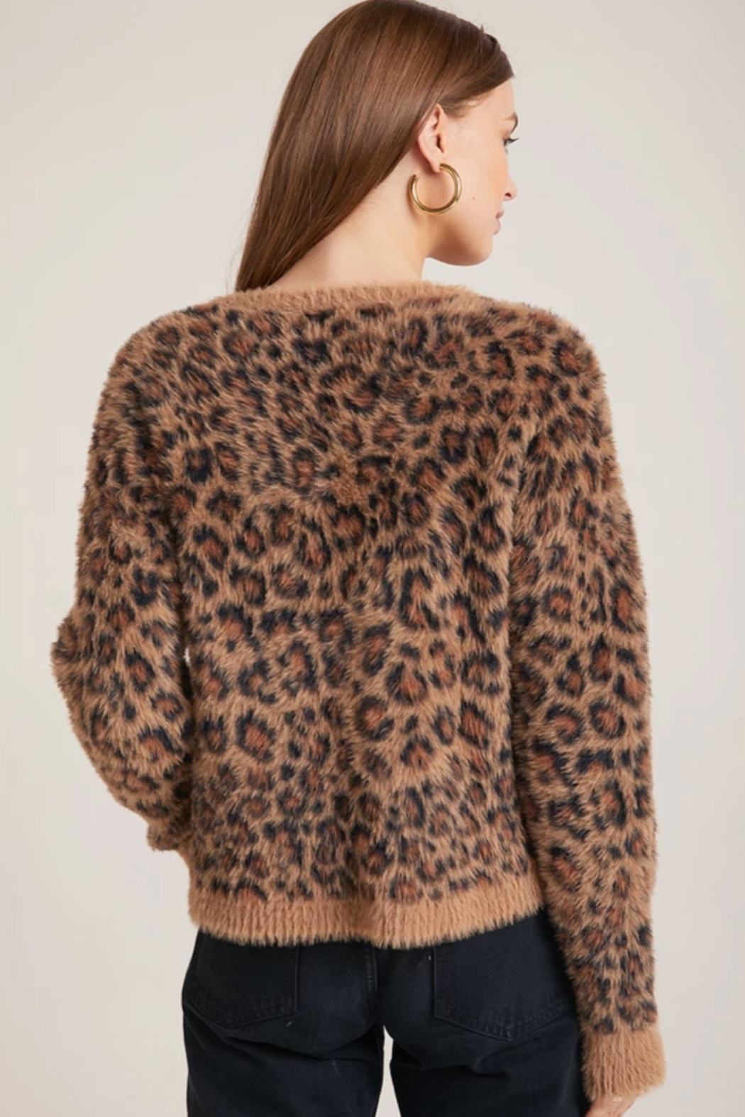 Bella Dahl  Slouchy Leopard Sweater - Back Cropped Image