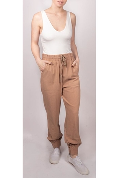 Final Touch Slouchy Linen-Joggers Camel - Product List Image