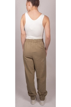 Final Touch Slouchy Linen-Joggers Olive - Alternate List Image
