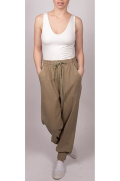 Final Touch Slouchy Linen-Joggers Olive - Product List Image
