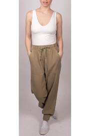 Final Touch Slouchy Linen-Joggers Olive - Product Mini Image