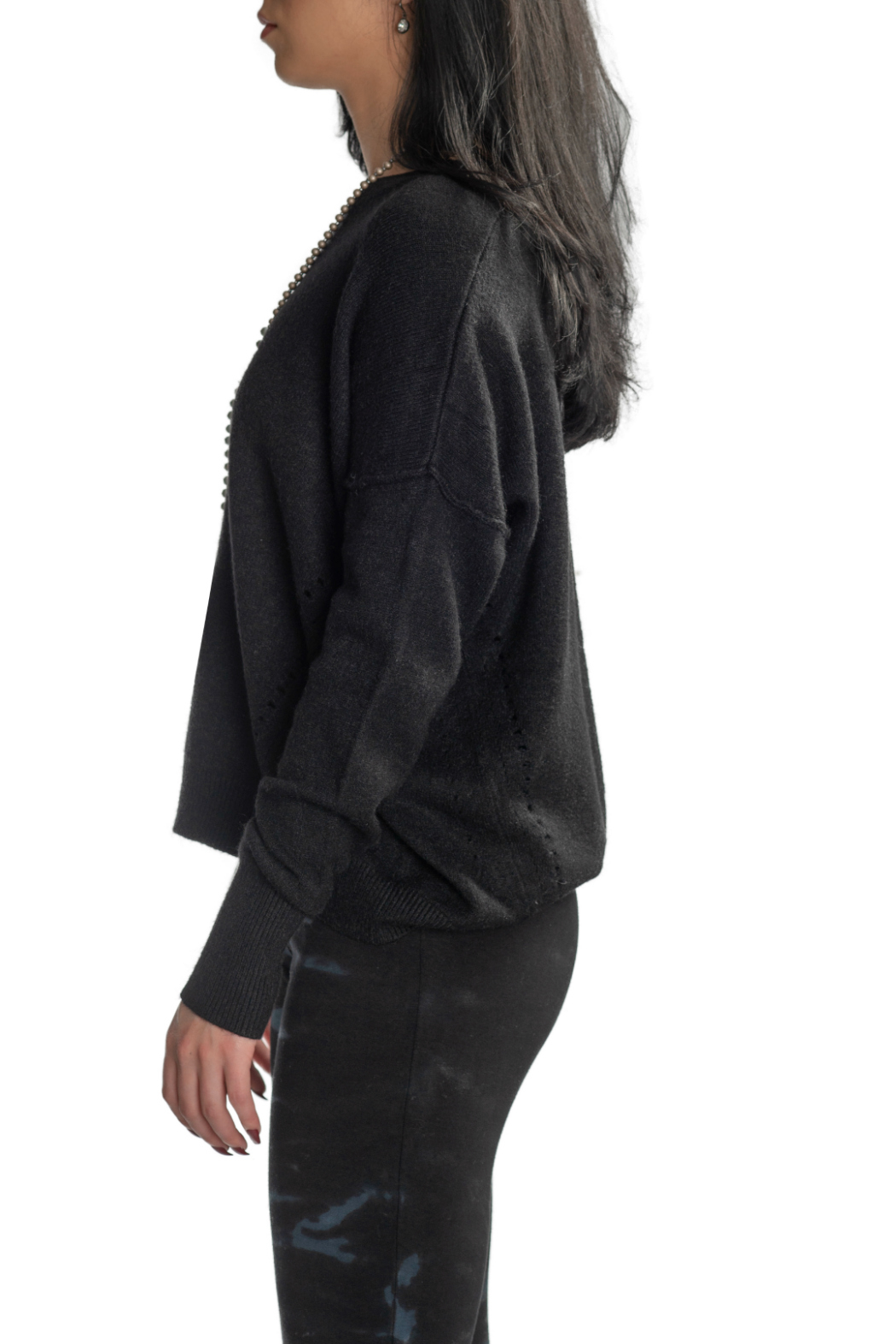 METRIC Slouchy Pindot Center Seam Sweater - Side Cropped Image