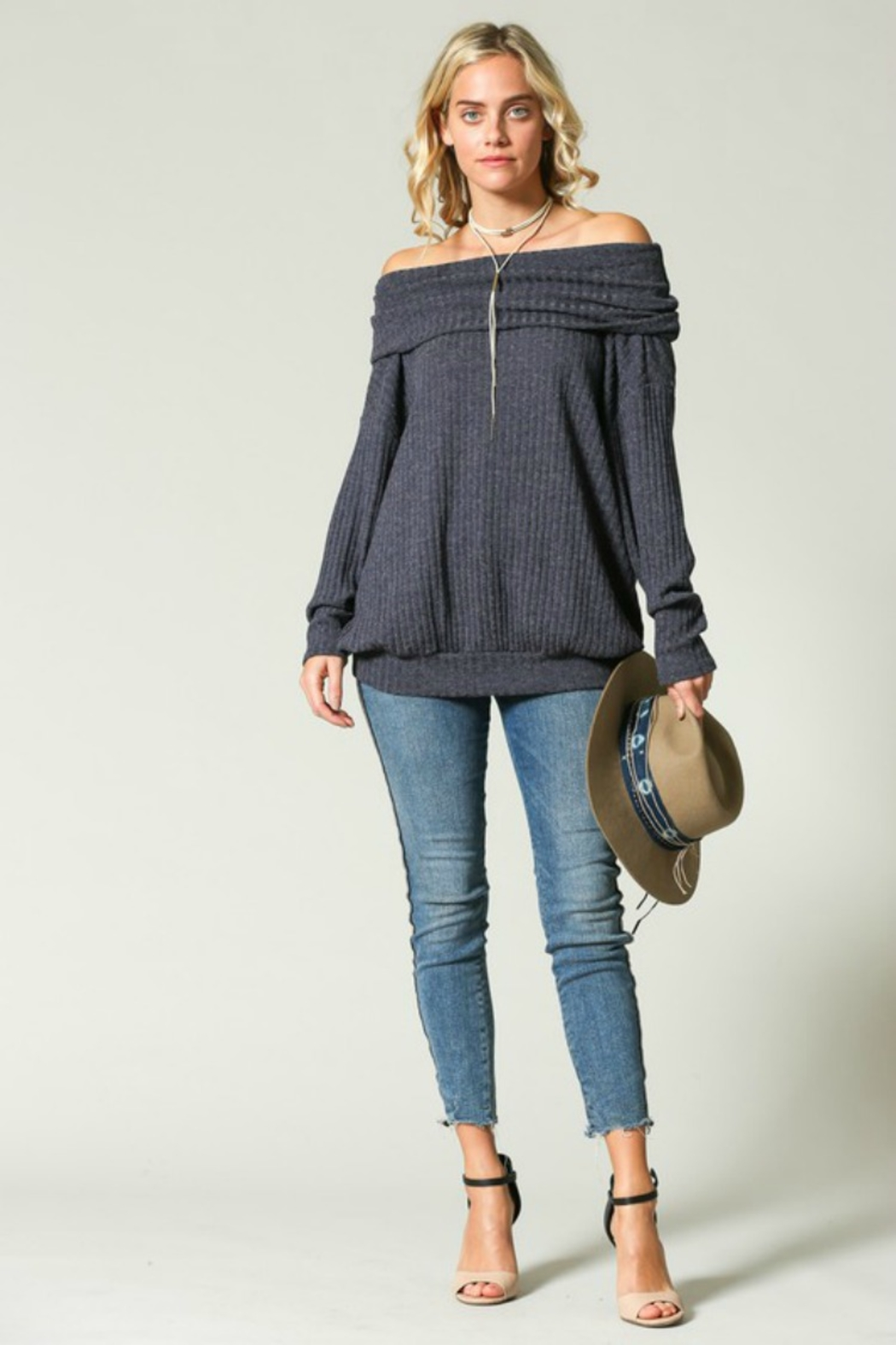 Kye Mi Slouchy Ribbed Top - Front Full Image