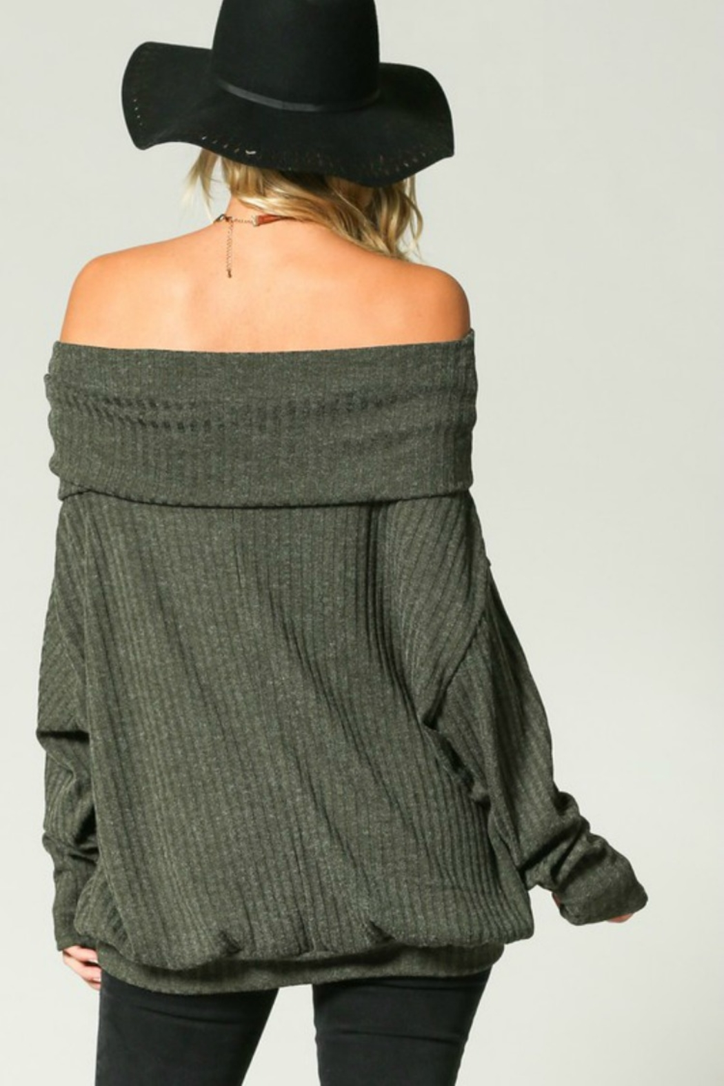 Kye Mi Slouchy Ribbed Top - Back Cropped Image