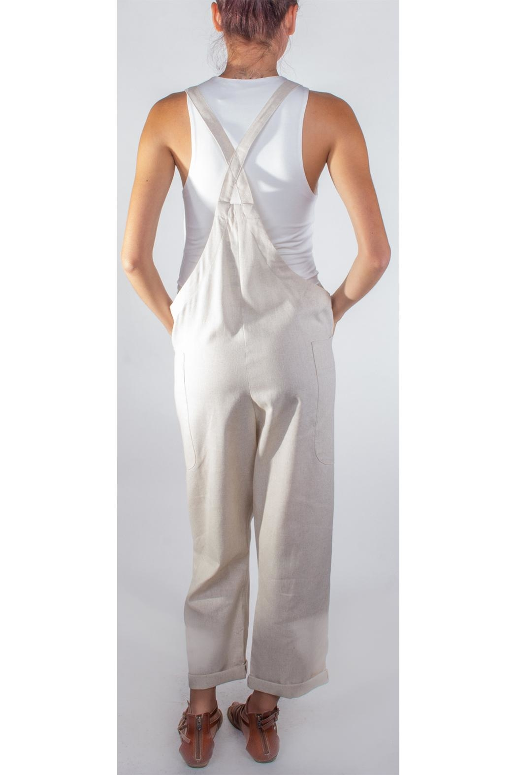 Hem & Thread Slouchy Tan Overalls - Side Cropped Image