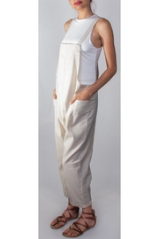 Hem & Thread Slouchy Tan Overalls - Front full body