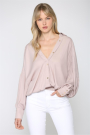 Fate  Slouchy V Neck Satin-y Blouse - Product Mini Image
