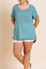 Umgee  Slub Knit Short Folded Sleeve Round Neck Top with High Low Scoop Frayed Hem - Product Mini Image